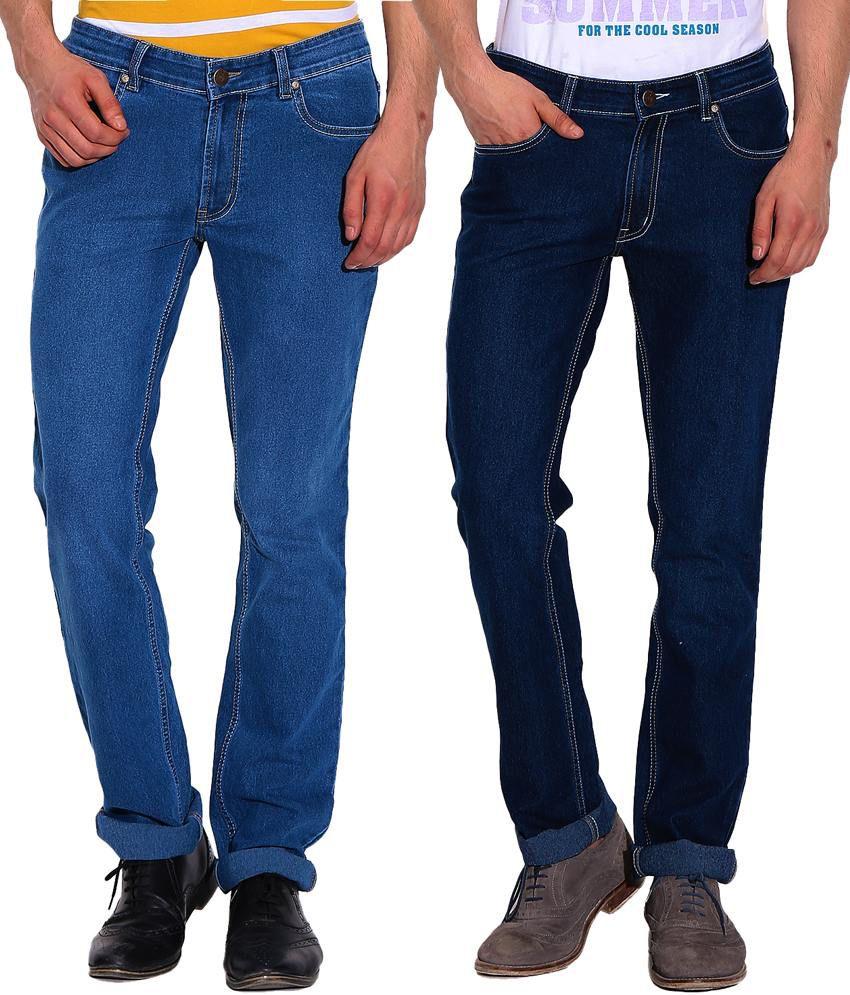 D Vogue London Blue Cotton Regular fit Jeans - Pack Of 2