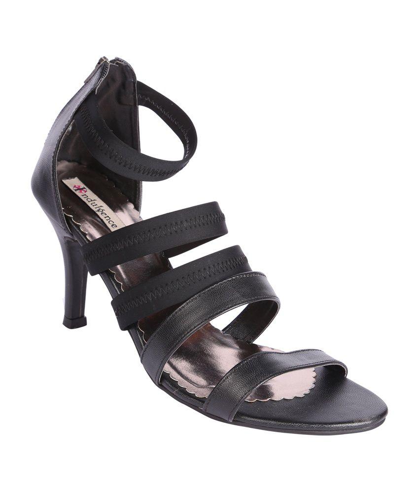 Indulgence Black Faux Leather Medium Heel Sandals