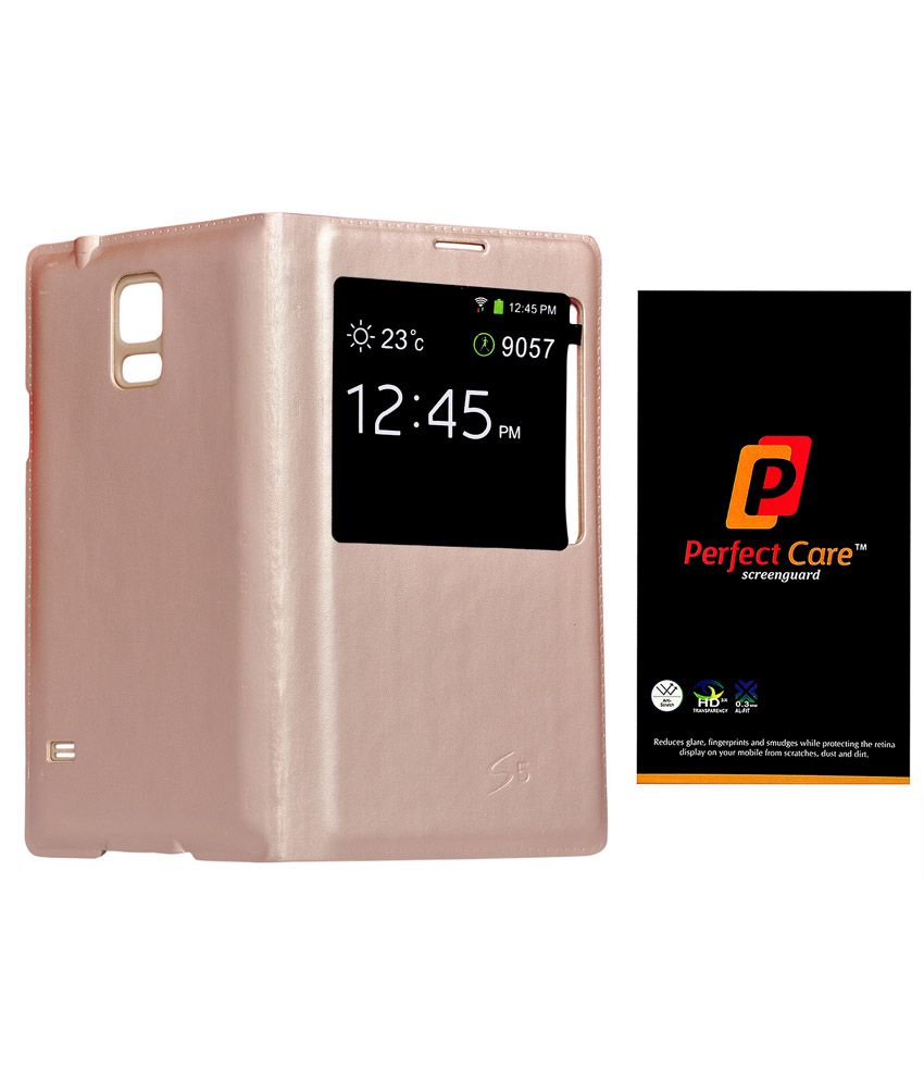 Admire Golden Leather Flip Sensor Cover For Samsung Galaxy S5 With Hd Clear Screen Guard+freebie Keychain