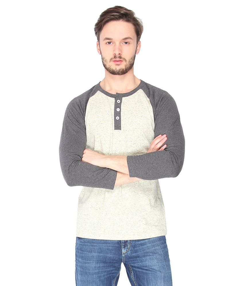 Campus Sutra Grey Melange Raglan Henley Full Sleeve Tshirt
