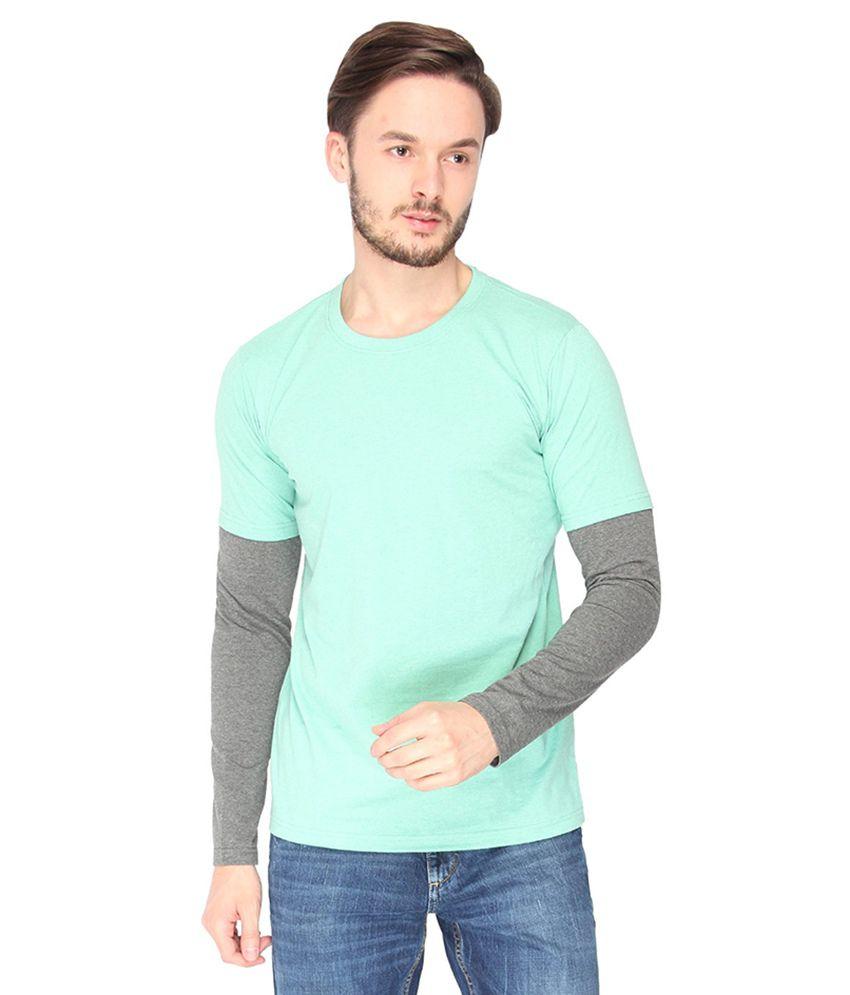 Campus Sutra Sea Green Melange Round Neck Full Sleeve Tshirt