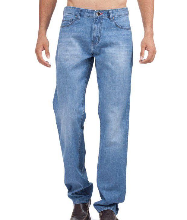 Die Hard Blue Cotton Blend Regular Men's faded jeans
