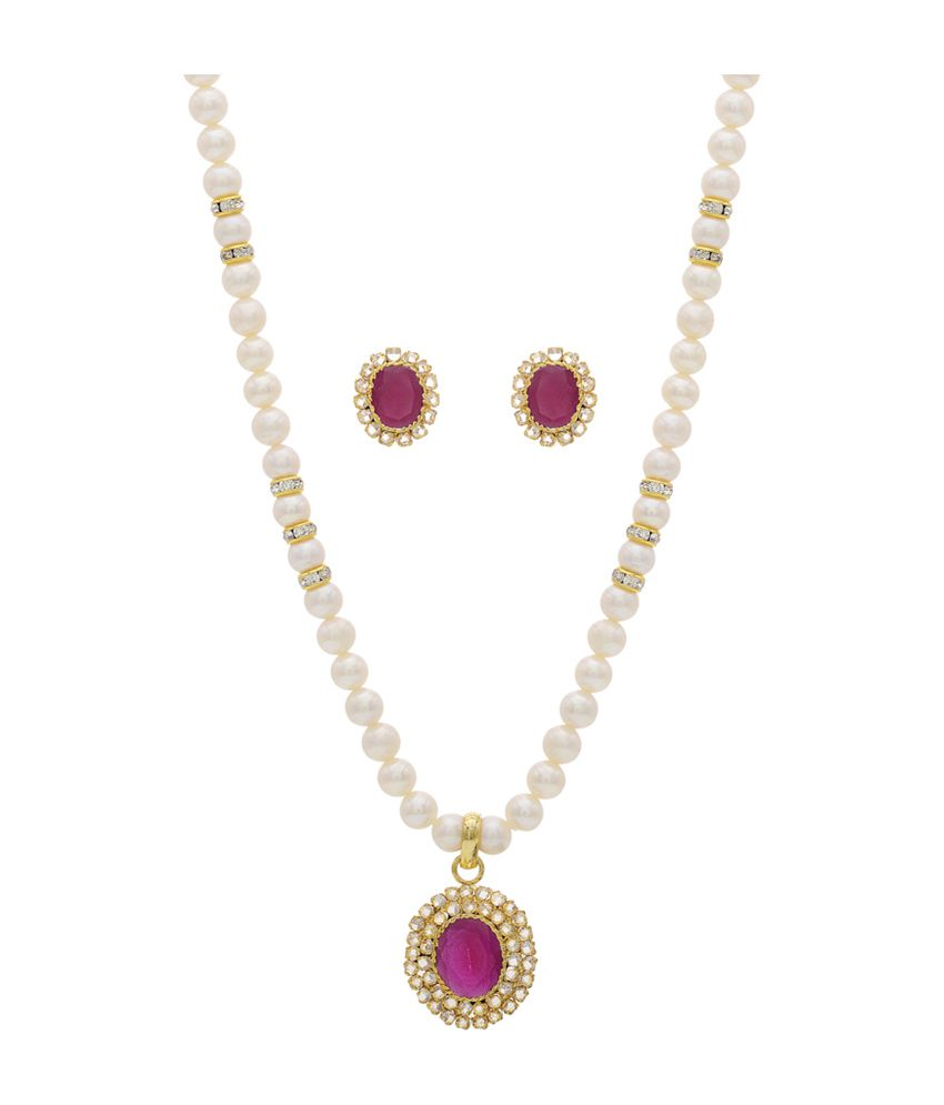 c0be528428b Hyderabad Jewels Fresh Water Natural Pearls Style Diva Necklace Set - Buy Hyderabad  Jewels Fresh Water Natural Pearls Style Diva Necklace Set Online at Best ...
