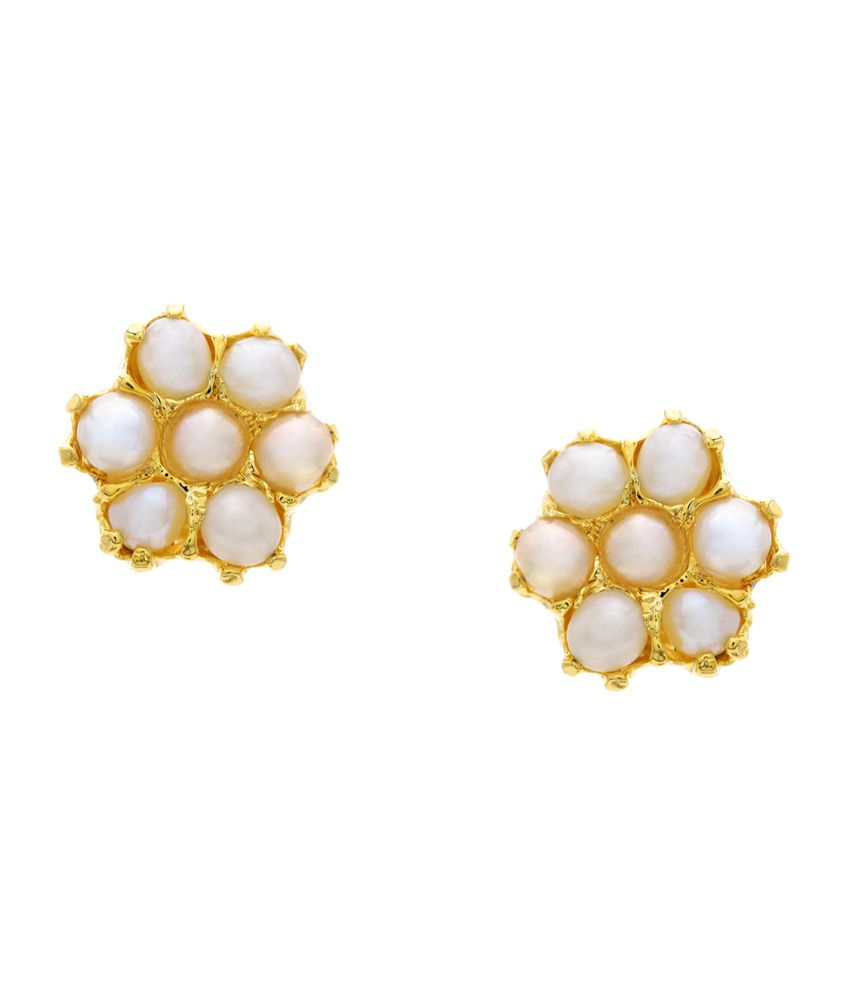 56a508c72c165e Hyderabad Jewels White & Gold Seven Stone Studded Floral Design Stud  Earrings - Buy Hyderabad Jewels White & Gold Seven Stone Studded Floral  Design Stud ...