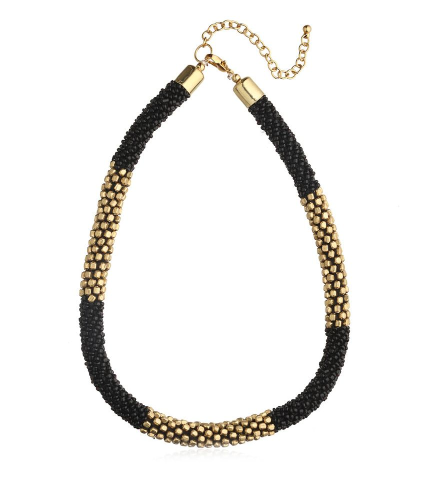 Kiosha Black & Gold Antique Contemporary Alloy Necklace