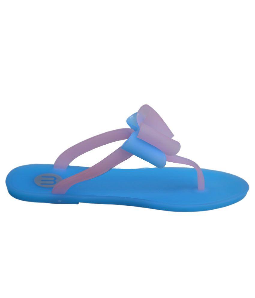 Season Footwear Blue Women Flip Flops
