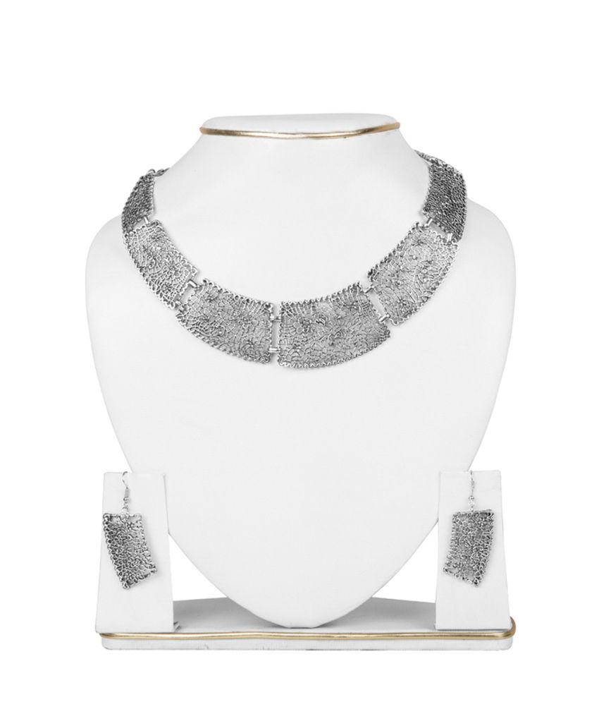 Taj Pearl Silver Alloy Designer Necklace