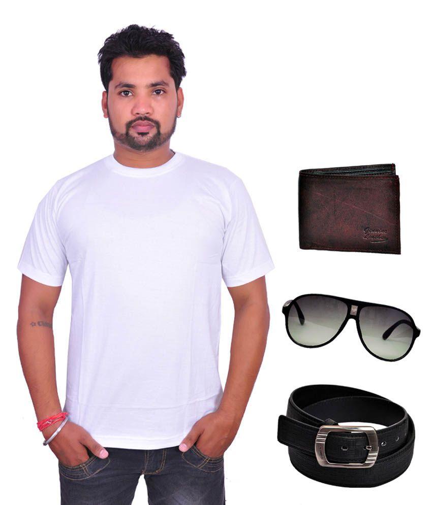 Domestiq Round Neck White T-shirt With, Men's Leather Wallet ,belt ,stylish Watch & Sunglass - Combo Of 4