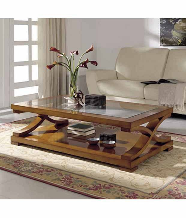 Dream Furniture Gl Top Center Table Rectangle Shape Brown