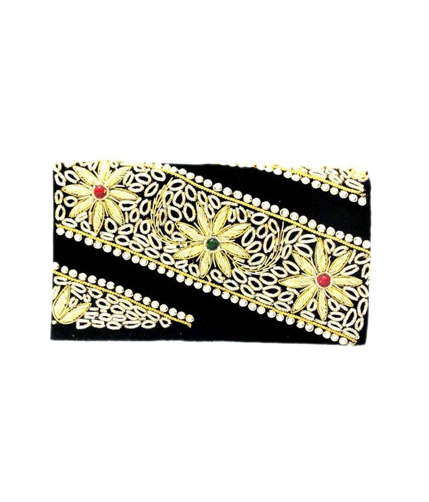 Sunita Fashion Black Velvet Part Wear Clutche