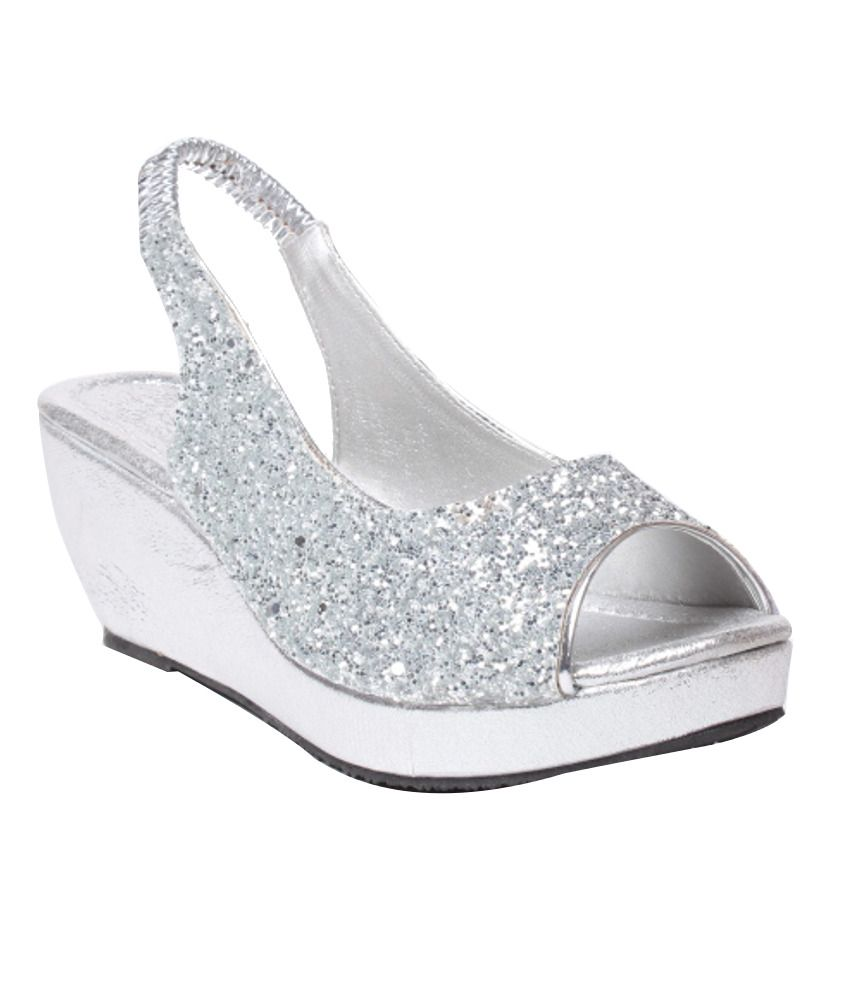Bluet Silver Classic Ethnic Heeled Sandals