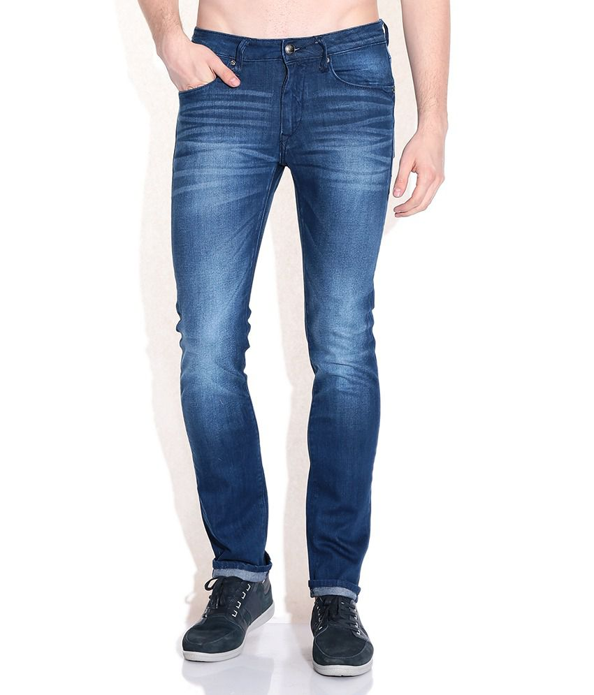 Flying Machine Blue Cotton Tapered Fit Jeans
