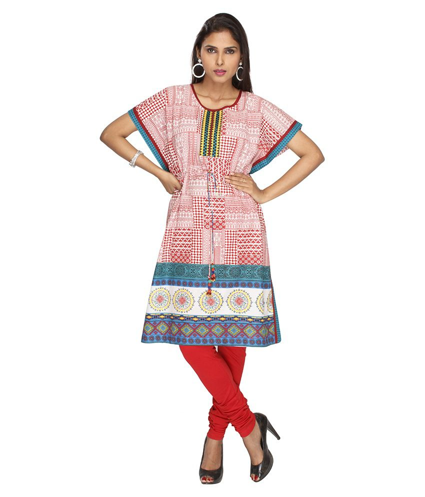 Jashn Red Printed Cotton Round Neck Half Medium Kurti