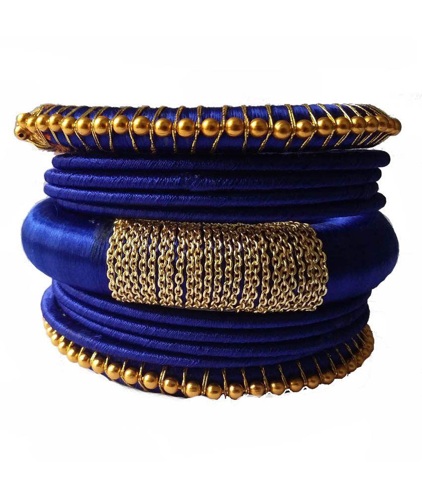 Kuhuk Blue Silk Thread Bangles Set: Buy Kuhuk Blue Silk Thread ...