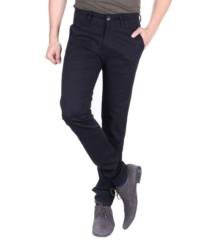 Meghz Black Cotton Regular Fit Men's Jeans