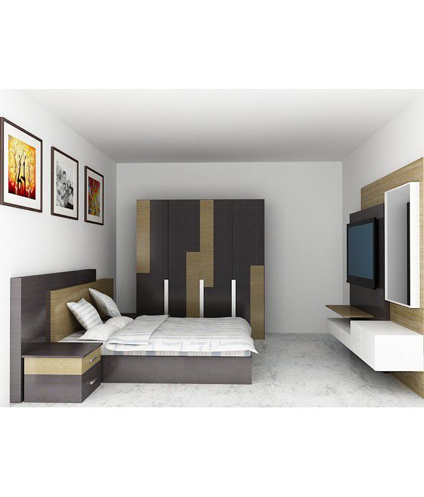 Wardrobe King Bed With Storage Led Wall Unit Dresser Brown Buy Wardrobe King Bed With Storage Led Wall Unit Dresser Brown Online At Best Prices In India On Snapdeal