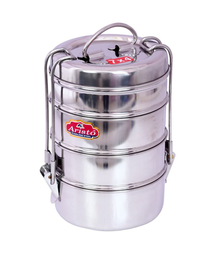 Aristo Lunch Box 4 Stainless Steel Container Tiffin Set