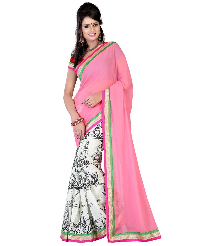 Indian House Pink Faux Georgette Saree