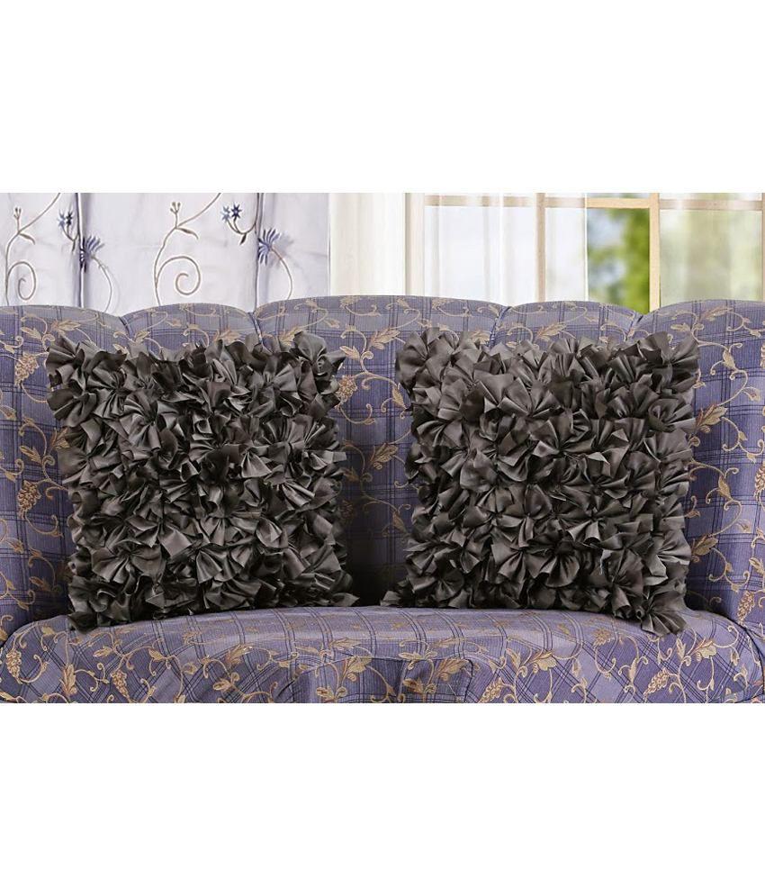 Dekor World Ruffle Cushion Cover Black (Pack of 2)