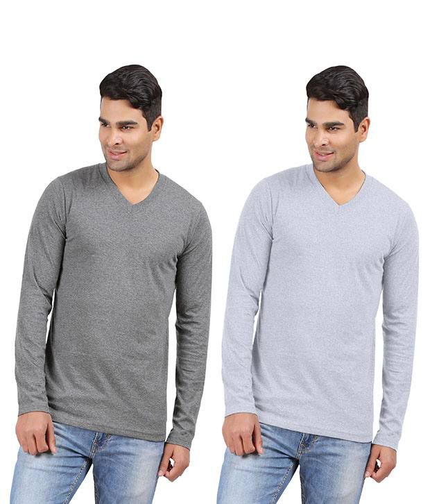 Hbhwear Mens V-neck Full sleeve T-shirt Pack of 2 Charcoal Melange,Grey Melange