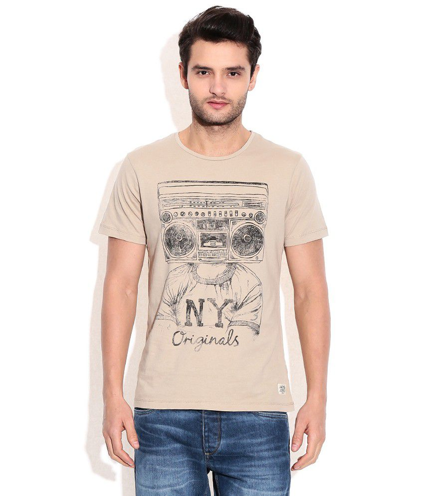 Jack & Jones Beige Cotton Round Neck T-Shirt
