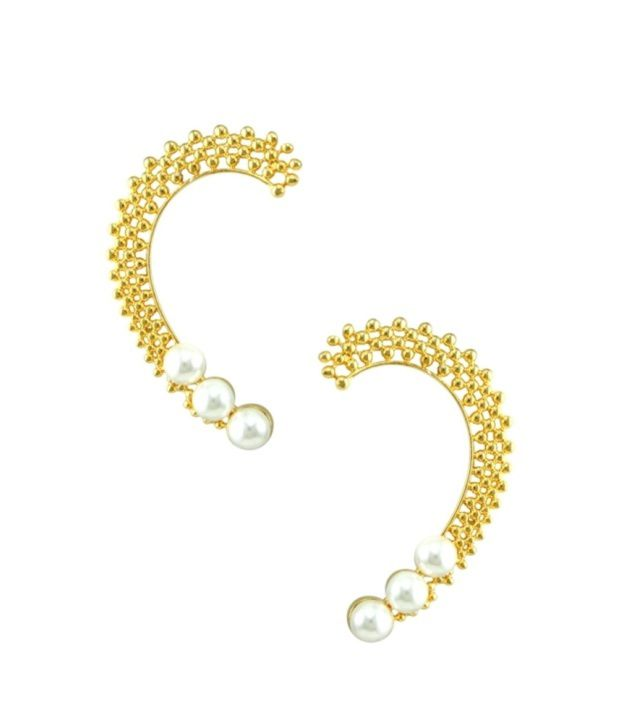 Orniza Golden Ear Cuffs with Pearls