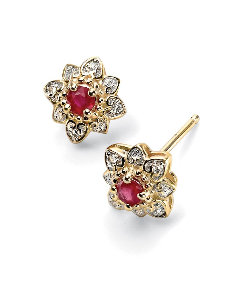 FacetzInspire Real Diamond Lab Ruby 92.5 Sterling Silver Earring - FISER02