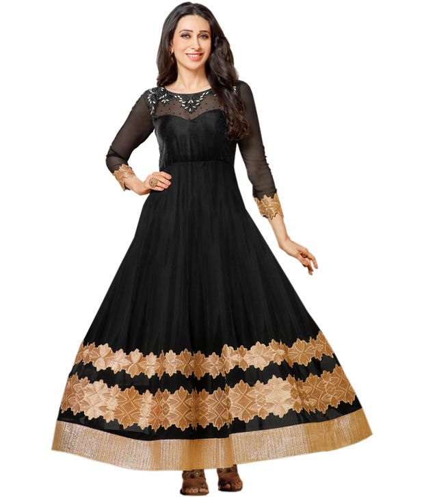 Fashion4masti Black Floral Zari Embroidery Work Designer Anarkali Suit