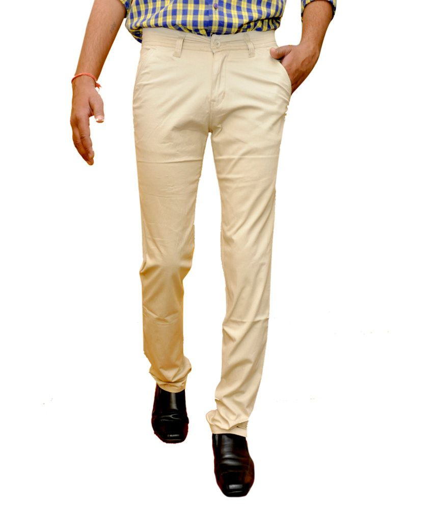Impect Khaki Cotton Blend Formals Regular Chinos Men Trouser