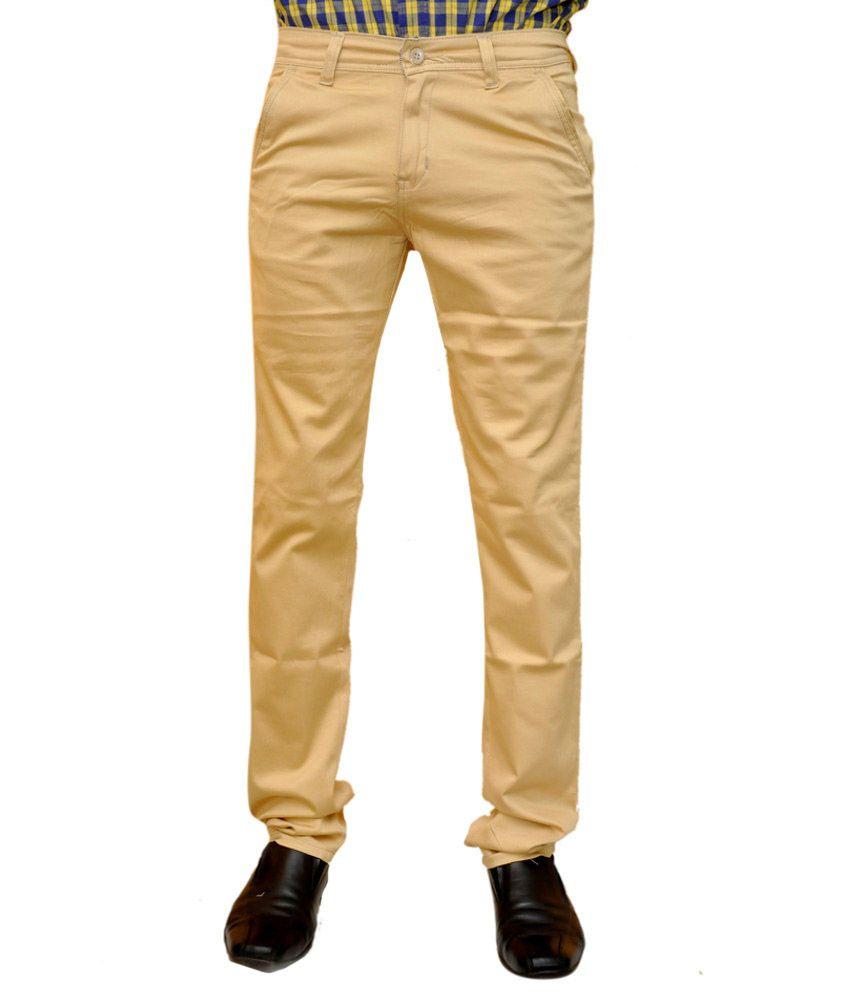 Impect Khaki Cotton Blend Formals Regular Chinos Men Trouser