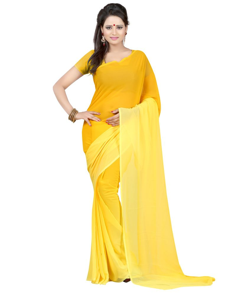 Indian House Yellow Faux Georgette Saree