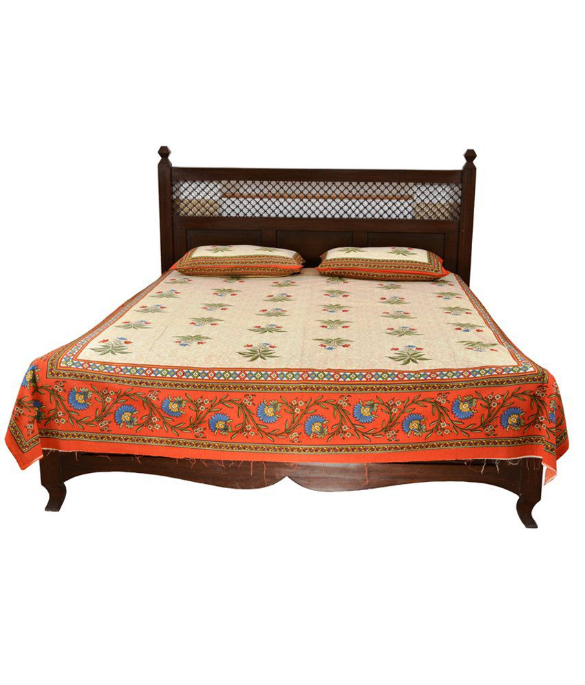 Soundarya Rajasthani Cotton Printed Double Bedsheet with 2 Pillow Cover