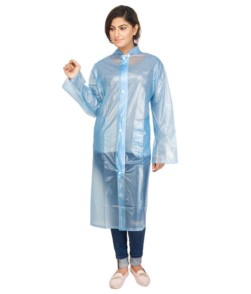 Versalis Blue Full Sleeves Long Raincoat For Women