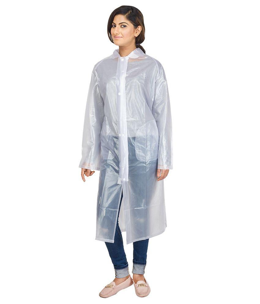 Versalis Gray Full Sleeves Long Raincoat For Women