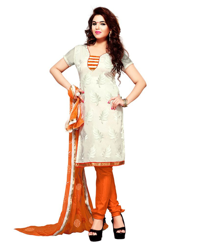 Vibes White Chanderi Unstitched Dress Material