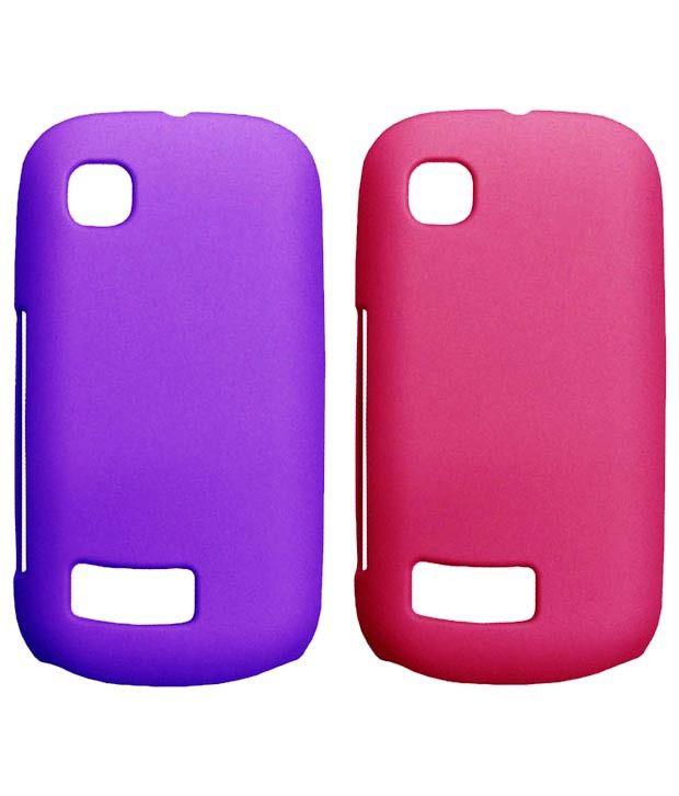 Winsome Deal Pink & Purple Plastic Mobile Back Cover For Nokia Asha 200 Pack Of 2