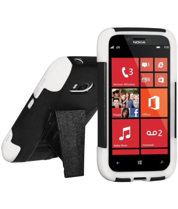 Amzer Double Layer Hybrid Case with Kickstand - White/ Black for Nokia Lumia 822