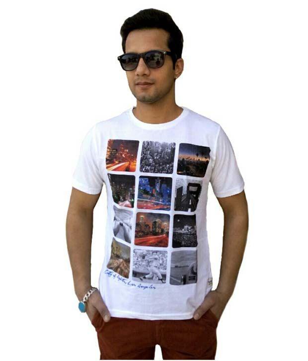 Brandonn White Cotton Round Neck Men's T-Shirt