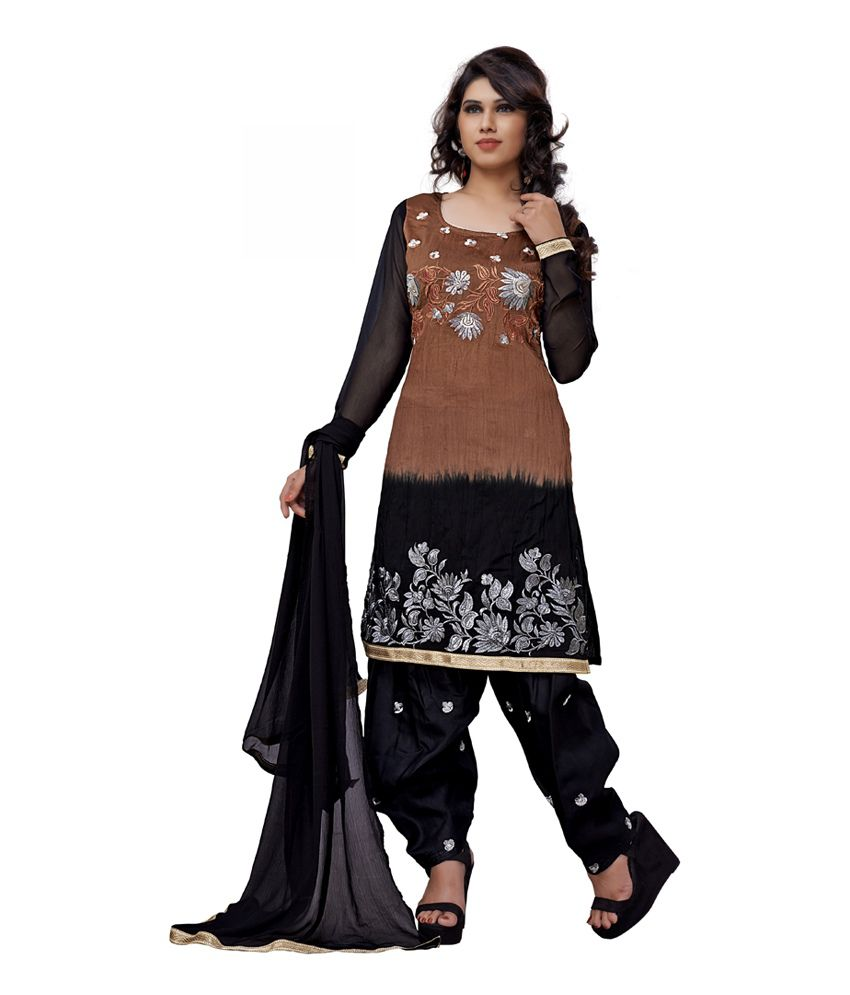 DK2 Black and Coffee Embroidered Cotton Dress Material