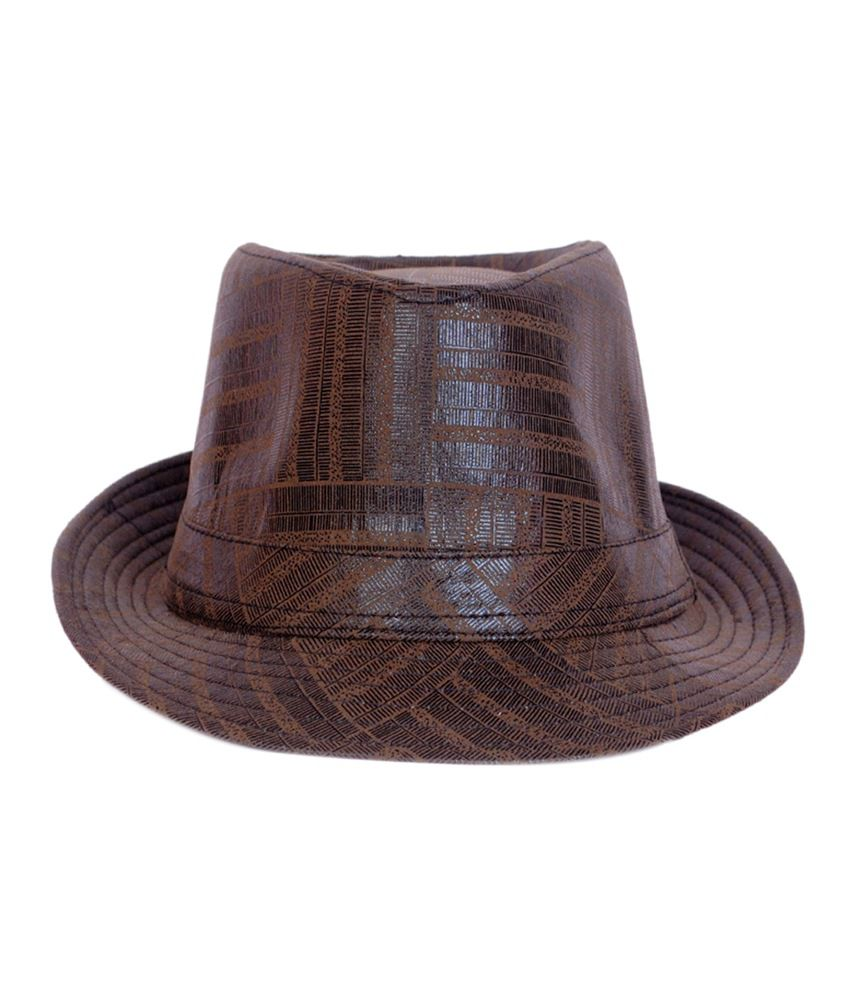 Macrobian Brown Polyester Fidora Hat
