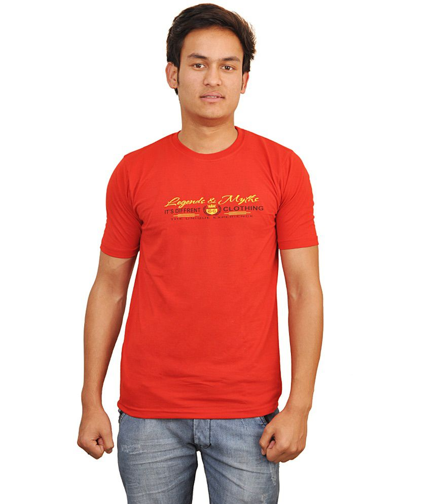 Younky Red Cotton Round Neck T-Shirt