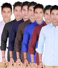 Yuva For Men Casual Full Cotton Blend Shirts For Men - Set Of 7