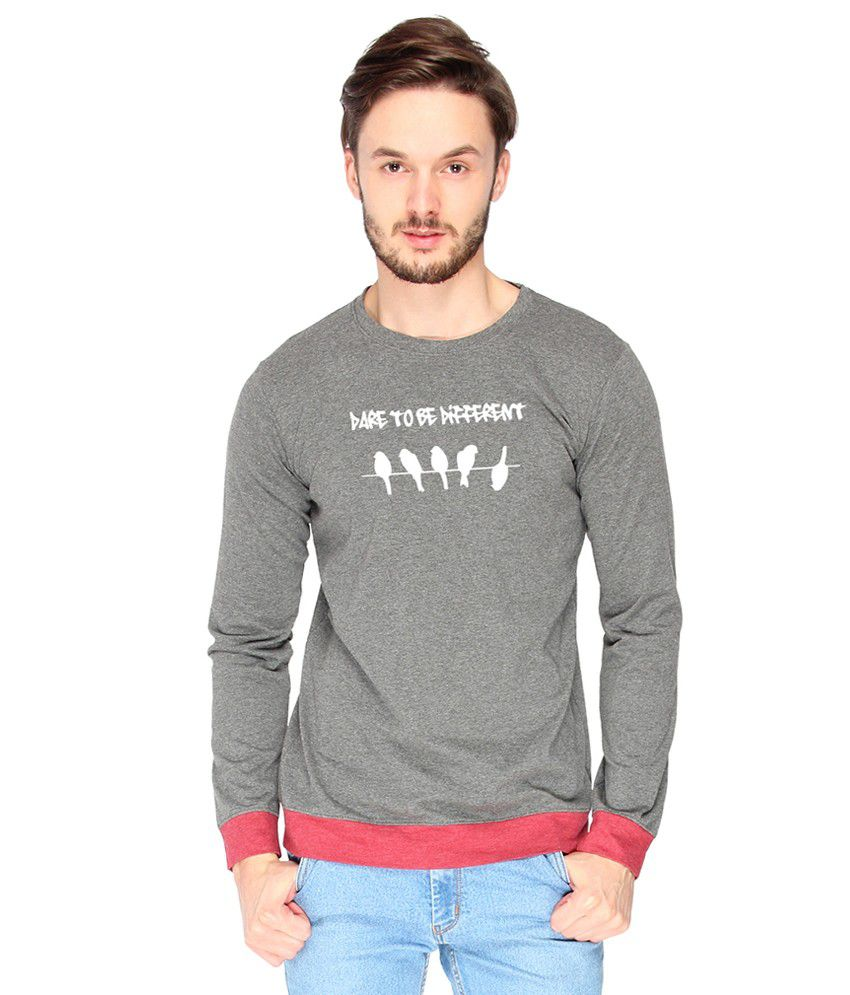 Campus Sutra Cotton Gray Dare To Be Different Printed T-shirt