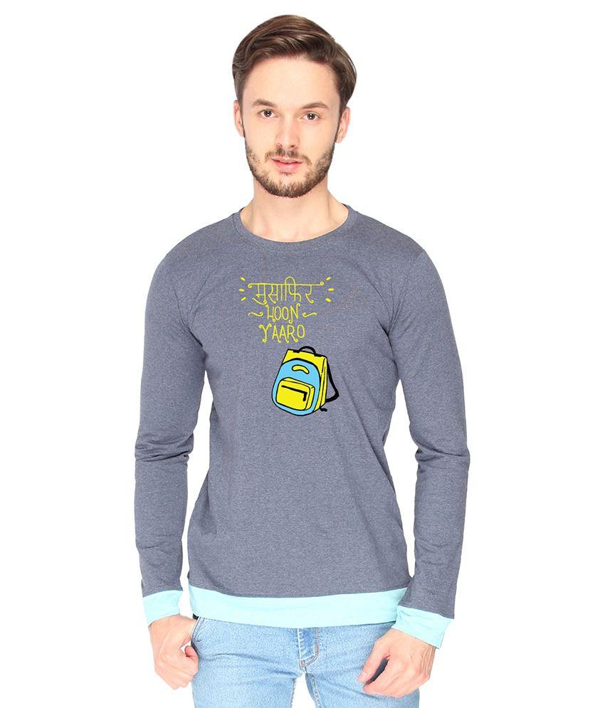 Campus Sutra Cotton Gray Musafir Hoon Yaaro Printed T-shirt