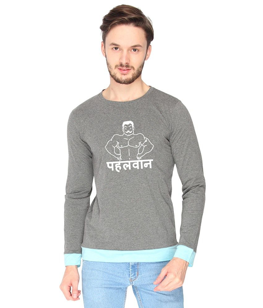 Campus Sutra Cotton Gray Pehelwan Printed T-shirt