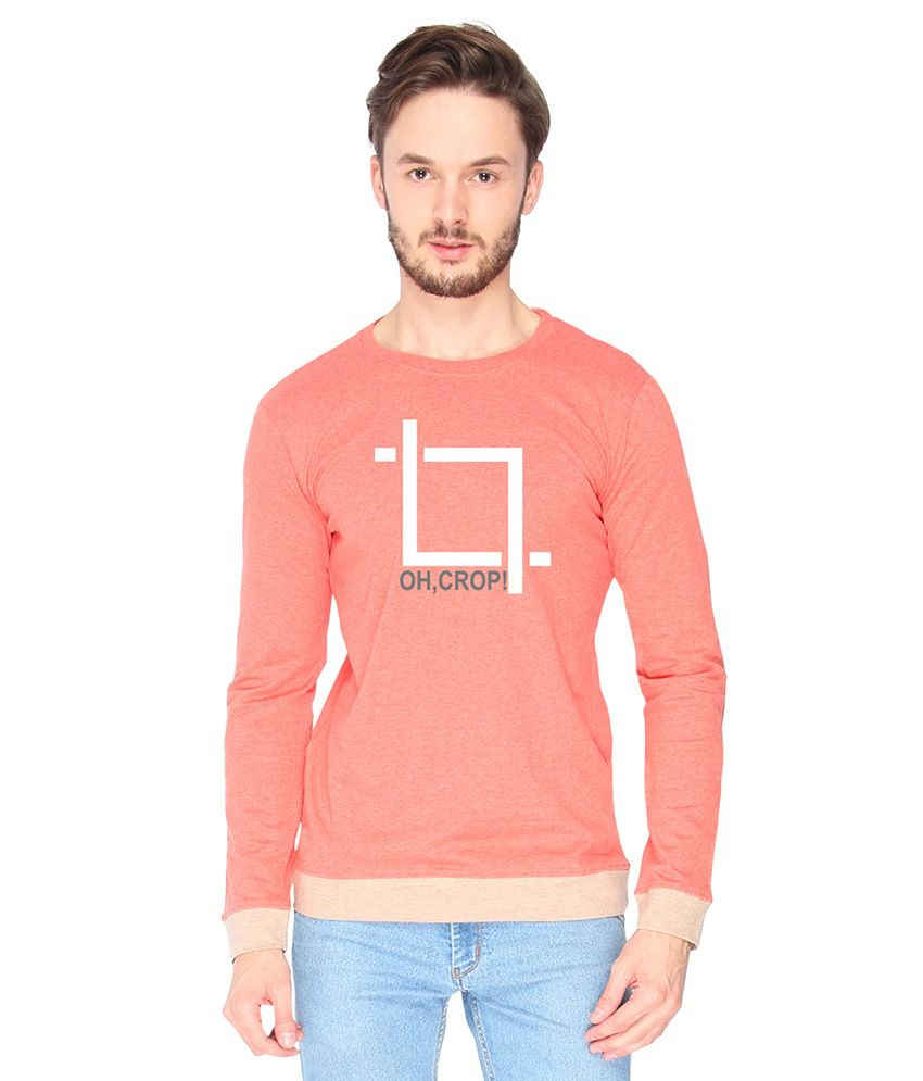 Campus Sutra Cotton Pink Oh Crop Printed T-shirt