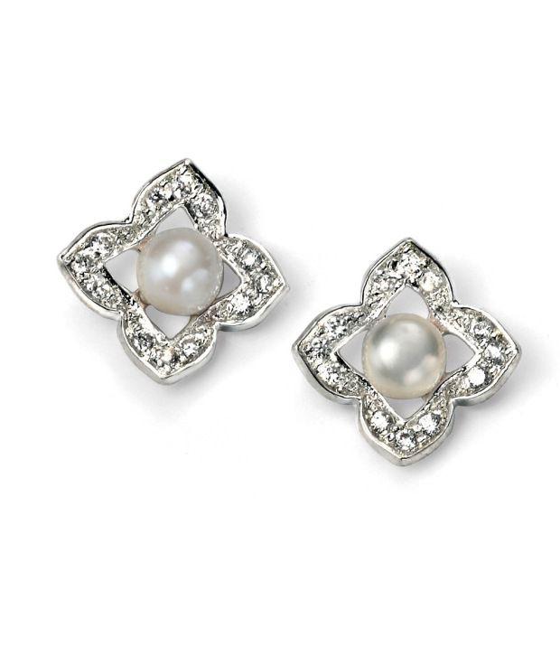 FacetzInspire Real Diamond Pearl 92.5 Sterling Sliver Earring - FISER38