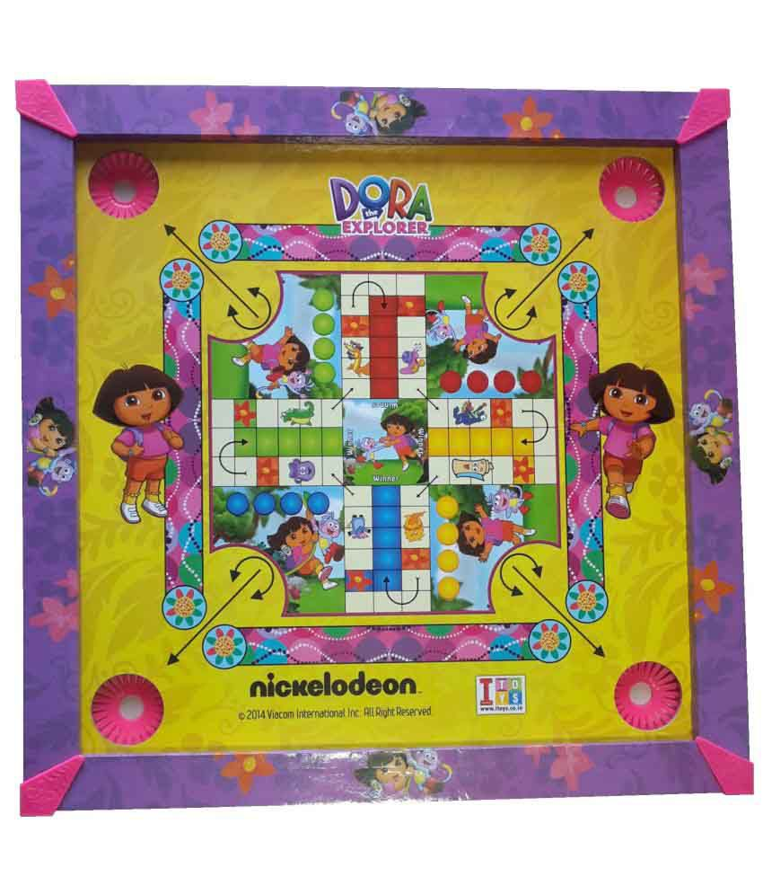 Her Home 3-in-1 Dora Carrom Board With Ludo & Snake & Ladders - Wooden