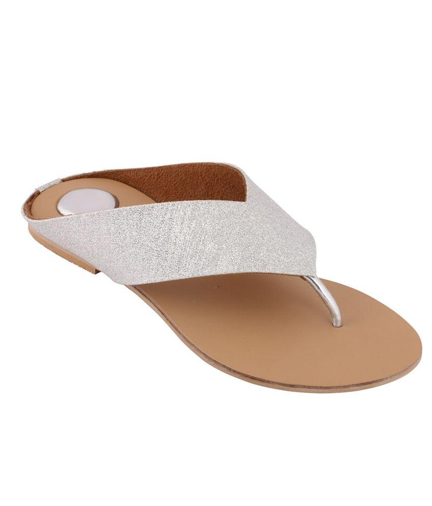Liza Women's Silver Synthetic Flat Slip-on
