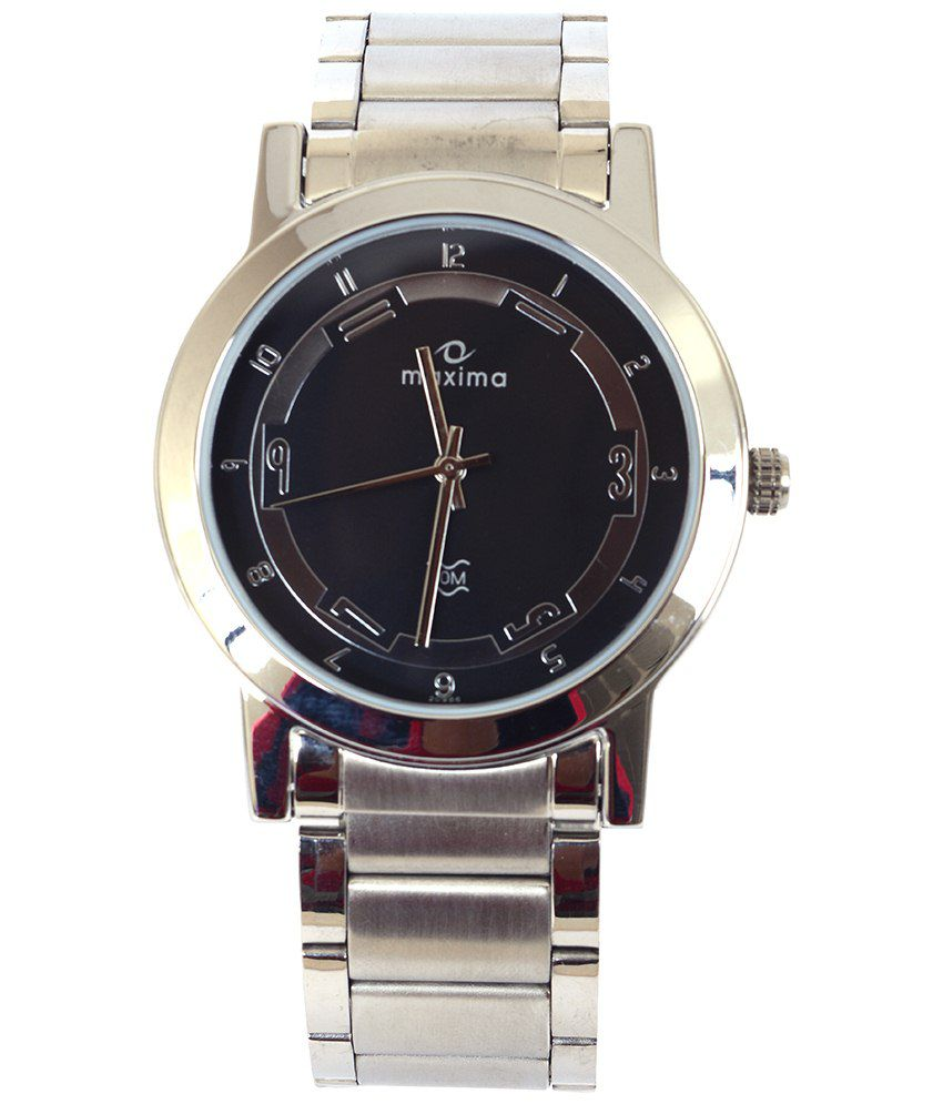 Maxima Remarkable Black Wrist Watch For Men
